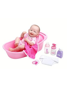 "Jc Toys La Newborn 8 Piece Deluxe Bathtub Gift Set, Featuring 14"" Life Like All Vinyl Smiling Baby Newborn Doll, Pink by Jc Toys"