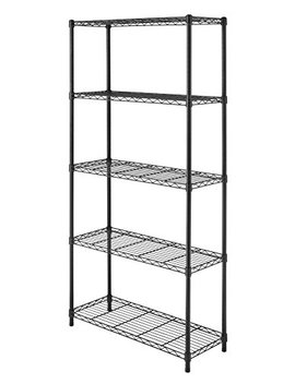 Whitmor Supreme 5 Tier Shelving With Adjustable Shelves And Leveling Feet   Black by Whitmor