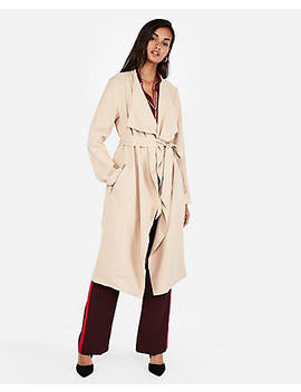 Petite Zip Pocket Soft Trench Coat by Express
