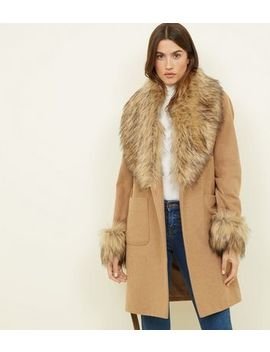 Camel Detachable Faux Fur Trim Coat by New Look