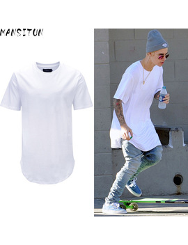 Man Si Tun  Summer Men Fashion Steetwear Urban Clothing Long T Shirt With Curved Hem Shirt Plus Size White Tall Tees Hip Hop Tees by Ali Express