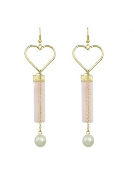 Pink Heart Drop Earrings by Romwe