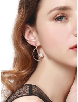 Half Circle & Bar Detail Stud Earrings by Romwe