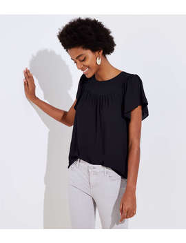 Petite Mixed Media Flutter Top by Loft