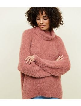 Coral Fluffy High Neck Jumper by New Look