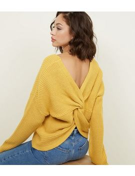 Mustard Twist Back Jumper by New Look
