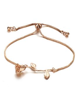Metal Rose Detail Link Bracelet by Romwe