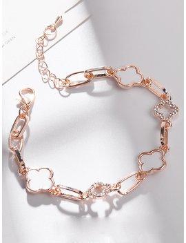 Clover Design Bracelet With Rhinestone by Romwe