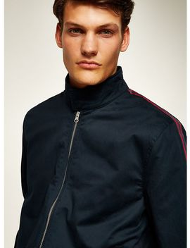 Navy Side Stripe Harrington Jacket by Topman
