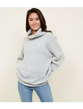 Pale Grey Slouchy Roll Neck Jumper by New Look