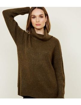 Khaki Slouchy Roll Neck Jumper by New Look