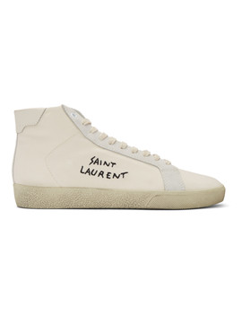 White Signature Sl06 Mid Top Sneakers by Saint Laurent
