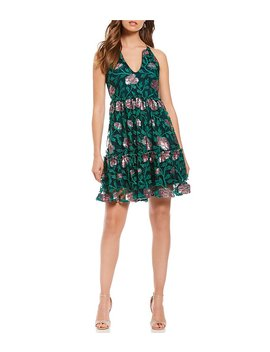 Floral Embroidered Ruffle Tiered Cocktail Dress by Generic