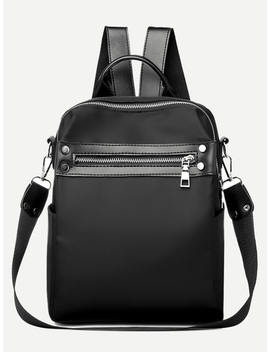Zip Front Plain Backpack by Romwe