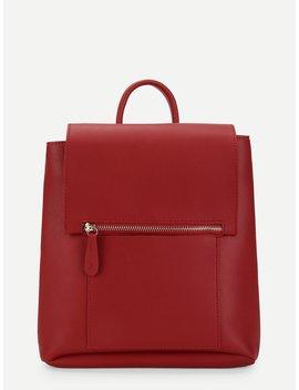 Zipper Front Flap Pu Backpack by Romwe