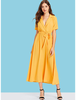 Notch Collar Belted Wrap Dress by Shein