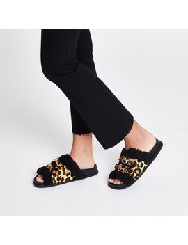 Leopard Print Buckle Shearling Sliders by River Island