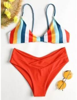 Striped High Leg Cami Bikini   Red S by Zaful