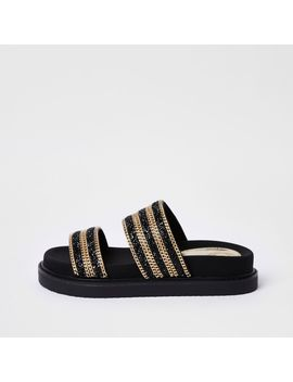 Black Double Chain Strap Sandal by River Island