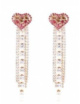 Rhinestone Heart Shaped Tassel Long Hanging Earrings   Rose Red by Zaful
