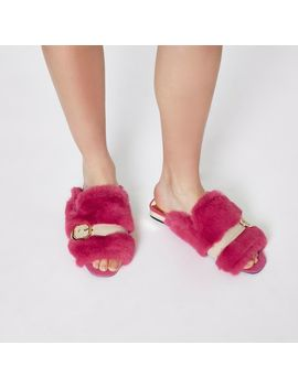 Pink Faux Fur Peep Toe Backless Loafers by River Island