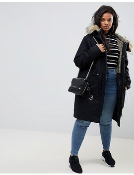 Asos Design Curve Parka With Detachable Faux Fur Liner by Asos Design