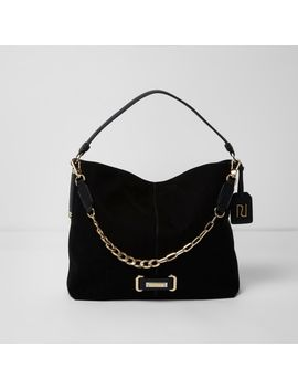 Black Chain Front Underarm Slouch Bag by River Island
