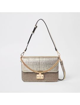 Gold Tone Lock Front Cross Body Bag                                    Gold Glitter Lock Pocket Front Foldout Purse by River Island