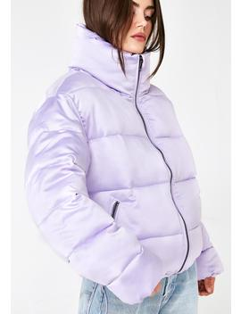 Lilac Hood Dreams Puff Jacket by Glamorous
