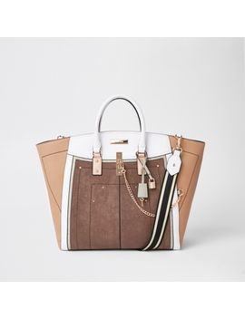Beige Metallic Winged Contrast Trim Tote Bag by River Island