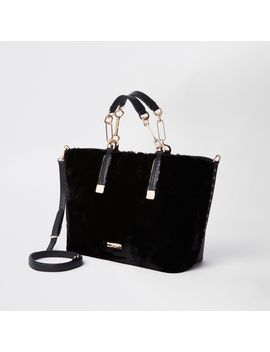 Black Faux Fur Winged Tote Bag by River Island