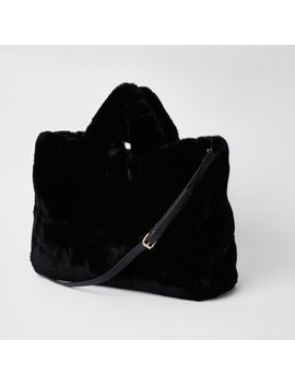 Black Faux Fur Oversized Shopper by River Island