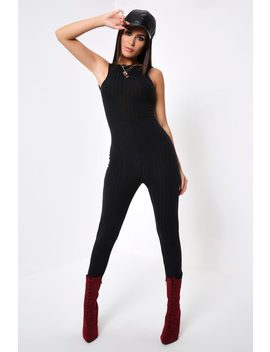 Black Ribbed Scooped Back Jumpsuit by I Saw It First