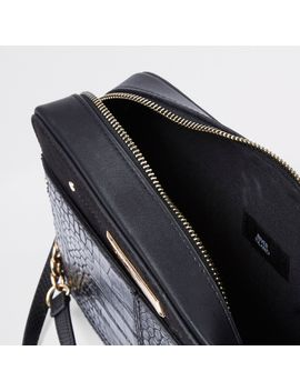 Black Croc Embossed Boxy Cross Body Bag                                    Black Snake Print Front Pocket Foldout Purse by River Island