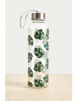 Small Monstera Leaf Glass Water Bottle by Urban Outfitters