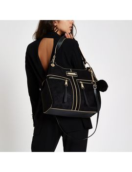 Black Pocket Front Slouch Bag by River Island