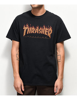 Thrasher Flame Black Halftone T Shirt by Thrasher