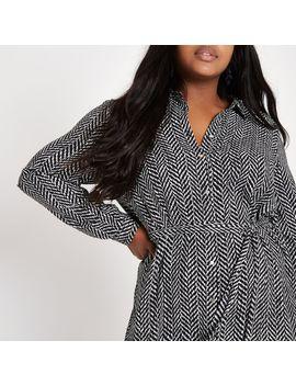 Plus Black Print Shirt Dress by River Island