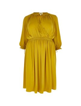 Plus Yellow Shirred Waist Swing Dress by River Island