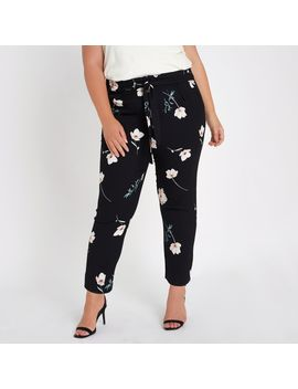 Plus Black Floral Tie Waist Tapered Trousers by River Island