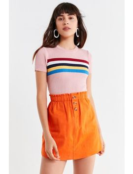 Uo Pari Paperbag Button Down Mini Skirt by Urban Outfitters