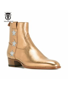 Luxury Exclusive High End Handmade New Star Wedge Slim Chelsea Men Zip Boots Real Leather Wyatte Harness  Botas Hombre by Fr.Lancelot