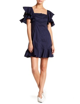 Ruffle Sleeve Front Button Dress by Kendall & Kylie