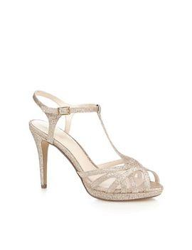 No. 1 Jenny Packham   Gold Glitter 'polly' High Stiletto Heel T Bar Sandals by No. 1 Jenny Packham