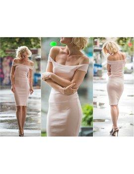 Off Shoulder Mini Dress , Blush Dress Fitted Bridesmaid Dress Pencil Dress Tight Sexy Dress Blush Pink Tight Mini Dress Bodycon Dress A0018 by Midday Shop