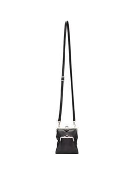 Black Double Clasp Shoulder Bag by Y's