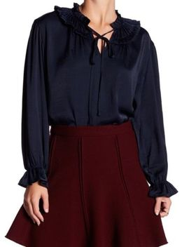 Pleione New Blue Women's Size Medium M Pleated Neck Keyhole Blouse $68 #900 by Pleione
