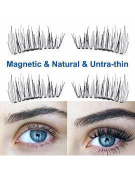 4 Pcs Magnetic Eyelashes 3 D Magnetic False Eyelashes Ultra Thin Natural Eye Lashes Extension Lightweight Natural Thick Eye Lashes Handmade False Eyelashes Tool + Case by Neoteck