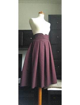 Plum Box Pleat Skirt/High Waisted/Cotton Midi Length Skirt/Sizes Xs Xl/Made To Measure Available by Dollchops
