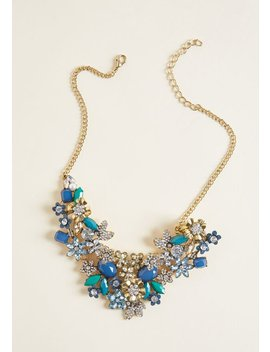 The Flowers That Be Statement Necklace In Blue by Modcloth